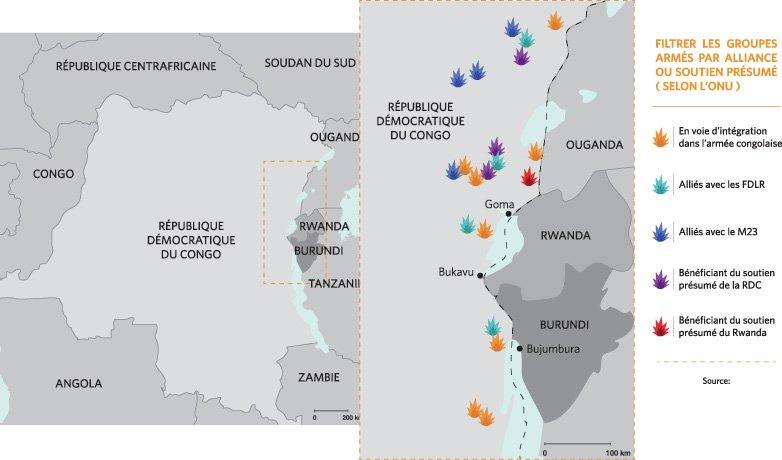 Carte de la frontière avec mouvements armés