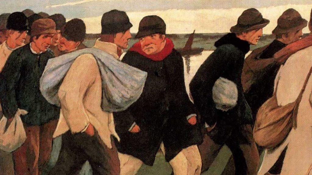 """Détail de """"Les déportés"""", Eugène Laermans, 1916"""